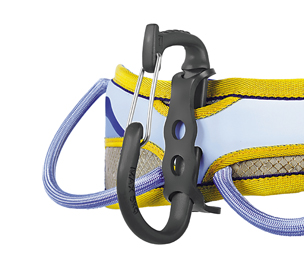 PORTER attached to a climbing harness.