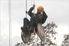 Nusle Bridge abseil on wheelchair - photos