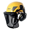 SAFE STEEL MESH VISOR and SECURE earmuffs on the FLASH helmet